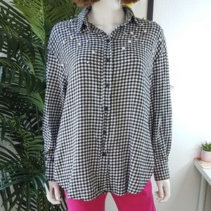 H&M Beaded Gingham Flannel Button Down Shirt 10